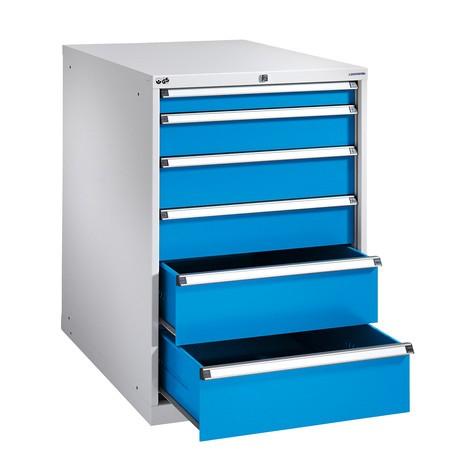 Schubladenschrank mit Einfachauszug, Schubladen 4x75 + 3x100 + 2x150 mm, Breite 718 mm