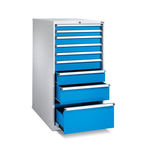 Schubladenschrank mit Vollauszug, Schubladen 2x75 + 3x100 + 1x125 + 1x150 + 1x200 + 1x300, Breite 718 mm