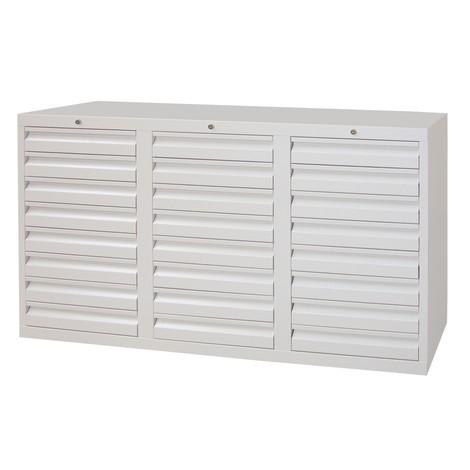 Schubladenschrank PAVOY, Schubladen 24x100 mm, Breite 1.500 mm, Rollenführung