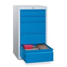 Schubladenschrank PAVOY, Schubladen 2x100 + 3x200 mm, Breite 500 mm, Gleitführung