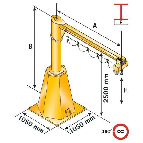 Schwenkkran VETTER inkl. ELECTROLIFT Elektrokettenzug, Säulenausführung, verfahrbar
