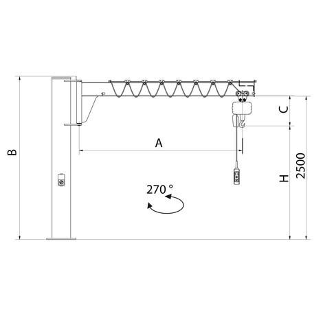 Schwenkkran VETTER inkl. LIFTKET Elektrokettenzug, Säulenausführung, niedrigbauend