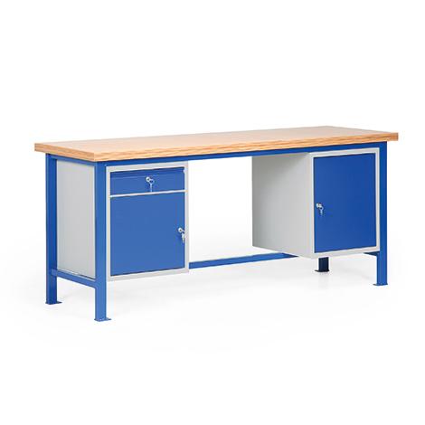 Schwere Werkbank mit 1 Schublade und 2 Türen. Tragkraft 1000 kg