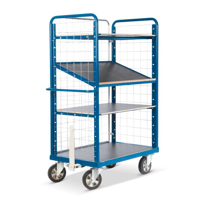 Schwerlast-Etagenwagen Rotauro mit 3 Gitterwänden. Tragkraft 1200kg