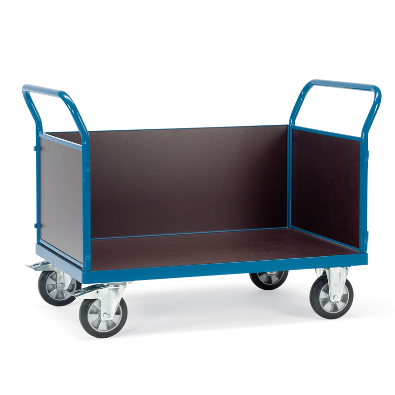 Schwerlast-Plattformwagen mit 3 Wänden. Tragkraft 1200kg
