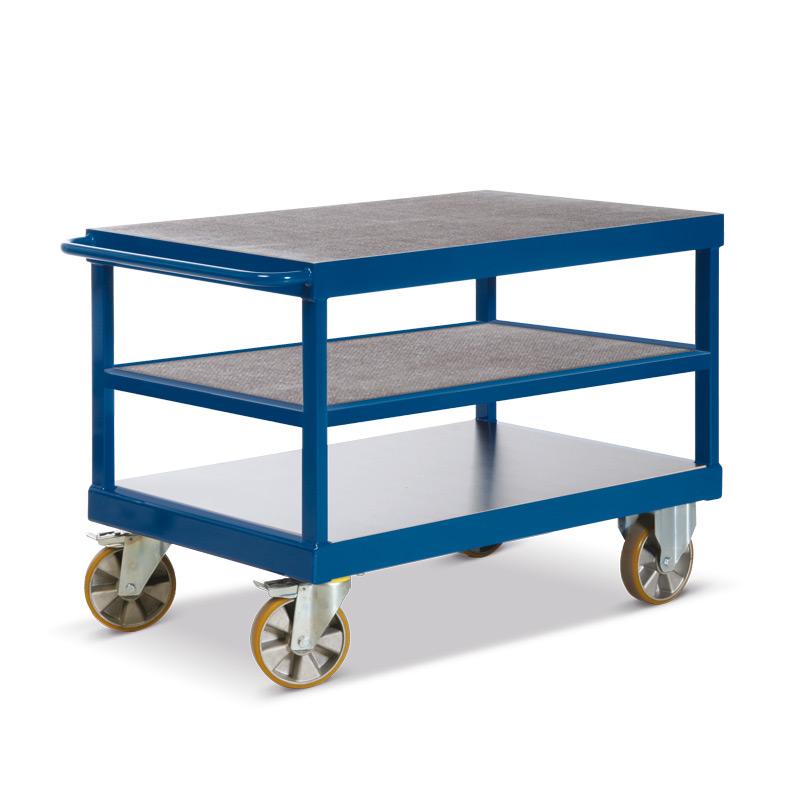 Schwerlast-Tischwagen Rotauro mit 3 Etagen. Tragkraft bis 2200kg