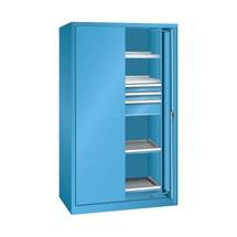 Schwerlastschrank LISTA mit Einschwenktüren, 2 Fachböden + 3 Schubladen + 2 Auszugböden, HxBxT 1.950 x 1.146 x 690 mm