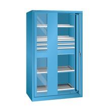 Schwerlastschrank LISTA mit Einschwenktüren + Sichtfenster, 2 Fachböden + 3 Schubladen + 2 Auszugböden, HxBxT 1.950 x 1.146 x 690 mm
