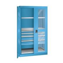 Schwerlastschrank LISTA mit Sichtfenster, 2 Fachböden + 4 Schubladen, HxBxT 1.950 x 1.100 x 641 mm