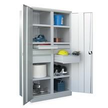 Schwerlastschrank PAVOY Premium mit Mittelwand, 6 Fachböden + Schubladen 2x75 + 2x125 + 2x175 mm
