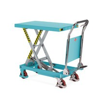 Scissor lift table mounted on wheels with folding handle, Ameise®