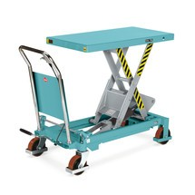 Scissor lift table mounted on wheels with handle, Ameise®