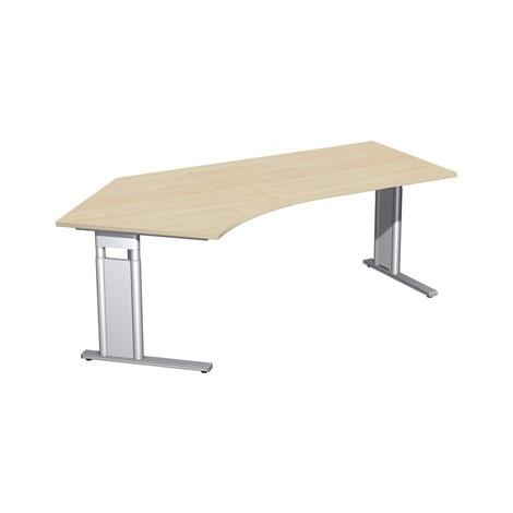 Scrivania professionale, piede a C regolabile in altezza costruttiva, forma libera 135°