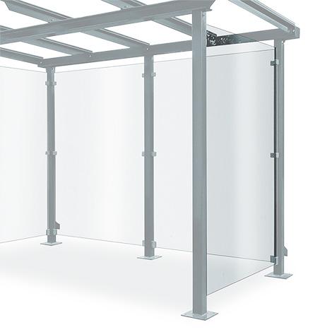 Seitenwand für Überdachung aus Glas und Stahl