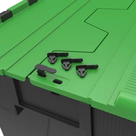 Sellos para contenedores de apilamiento reutilizables con tapa abatible