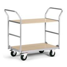 Serveer-etagenwagen met 2 houten borden. Capaciteit 200 kg