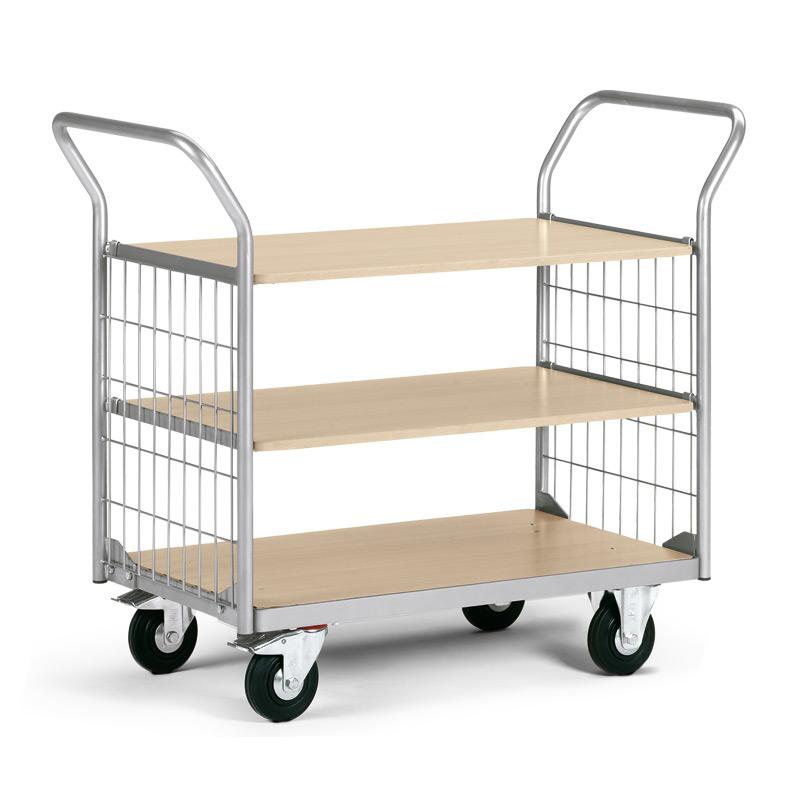 Service-Etagenwagen mit 3 Holzböden und 2 Gitterwänden