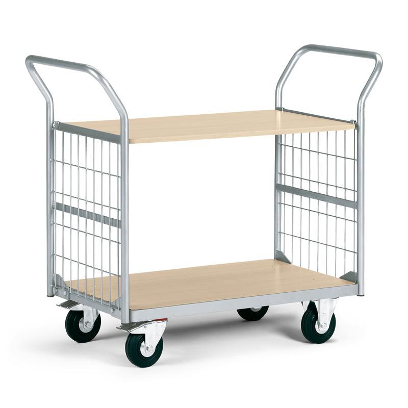 Service-Tischwagen mit 2 Holzböden und 2 Gitterwänden