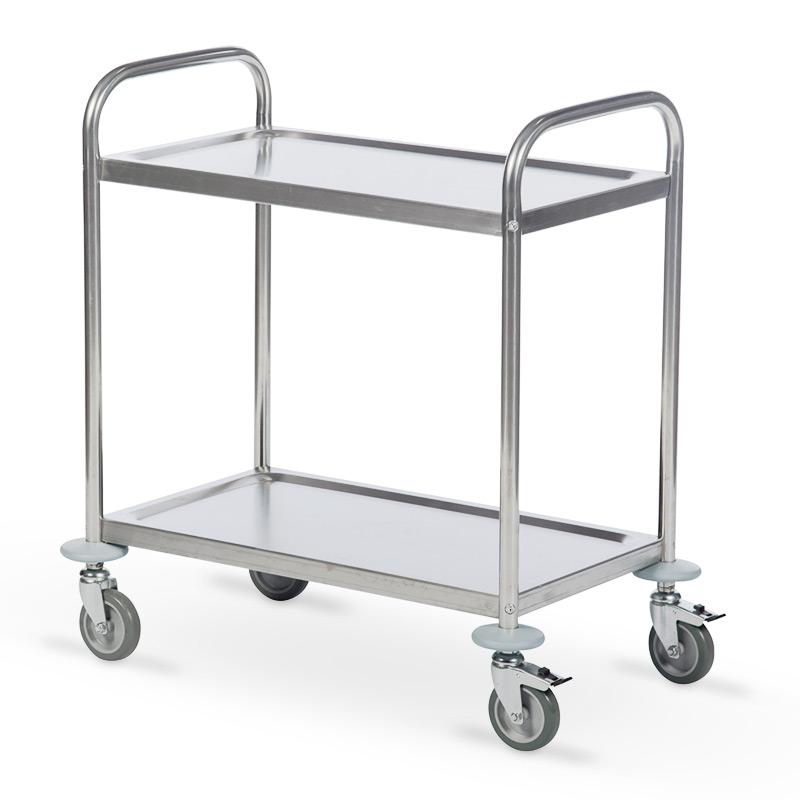 Servierwagen BASIC aus Edelstahl. 2 Etagen. Gesamttragkraft 100 kg