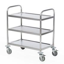 Servierwagen BASIC aus Edelstahl. 3 Etagen. Gesamttragkraft 100 kg
