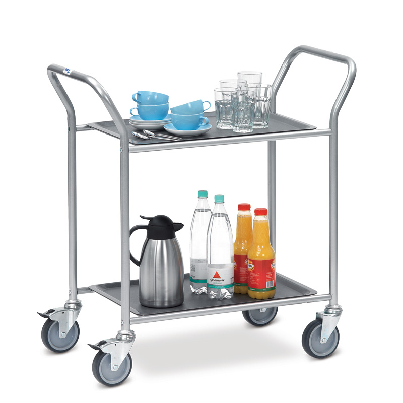 Servierwagen fetra® mit 2 - 3 abnehmbaren Tabletts. Tragkraft bis 90 kg