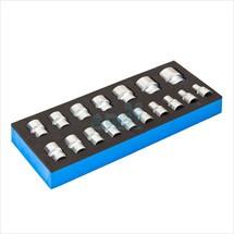Set di chiavi a presa incluso inserto per carrello da officina, 7 pezzi