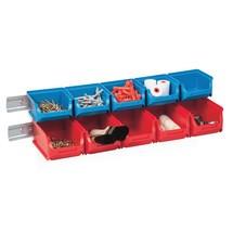 Set magazijnbakken met draagrails