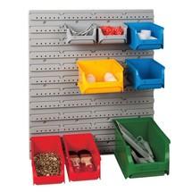 Set magazijnbakken met wandmontageplaten