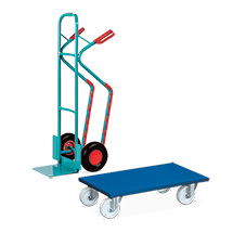 Set: Stapelkarre Ameise® mit Gleitkufen + 2 Stück VARIOfit® Transportroller