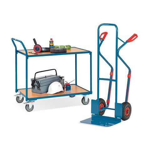 Set: Stapelkarre fetra®, Tragkraft 300 kg, Luftbereifung + Tischwagen fetra®, Gesamt-Tragkraft 300 kg, mit 2 Holzböden, Etagenfläche LxB mm: 850 x 500