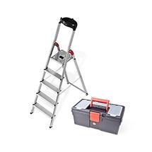 Set: Stufen-Stehleiter Hailo ® XXL Plattform+Ablageschale + Werkzeugbox