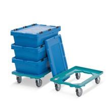 Set van 2 dollies voor eurobakken Ameise®, + 3 transportbakken van PP met deksel