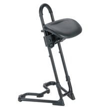 Sgabello con ruote, sedile in similpelle