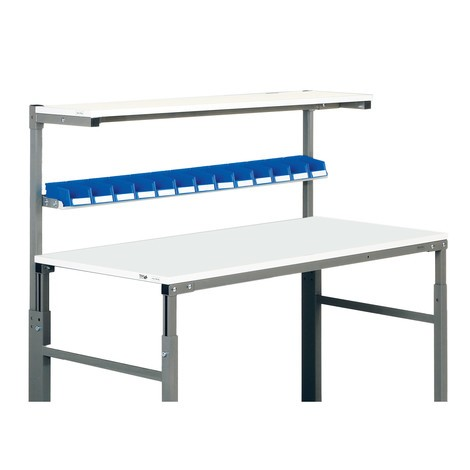 Shelf for open-fronted storage bins for ergonomic workstation system