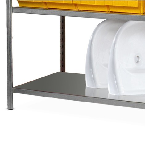 Shelf for shelf rack, with steel plate decks, galvanised