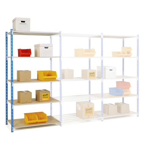 Shelf rack, add-on unit, sky blue/light grey, shelf load up to 233 kg