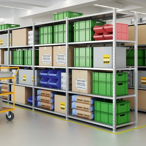 Shelf rack, add-on unit, with steel panel shelves, shelf load up to 350 kg, galvanised