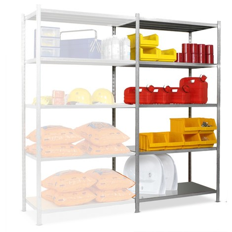 Shelf rack, add-on unit, with steel plate decks, shelf load up to 300 kg, galvanised