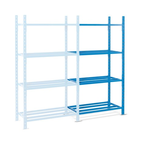 Shelf rack, add-on unit, with tubular steel shelves, shelf load up to 500 kg