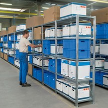 Shelf rack, base unit, with steel panel shelves, shelf load up to 350 kg, galvanised