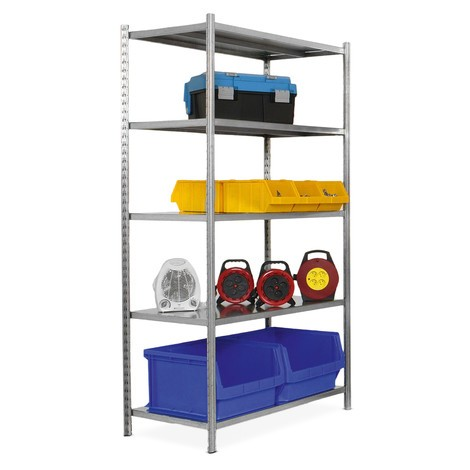 Shelf rack, base unit, with steel plate decks, shelf load up to 300 kg, galvanised