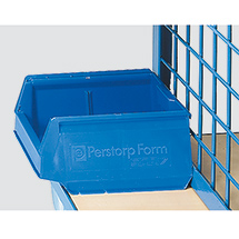 Sichtlagerkästen fetra® PP blau für Werkstückwagen