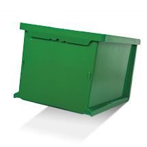 Sichtlagerkasten aus Polypropylen. Außenmaß 100 x 102 x 60 mm (LxBxH)