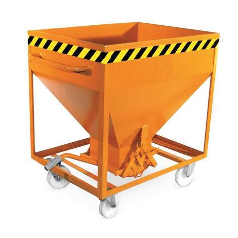 Silo container, med sax stängning, gaffelfickor och hjul, målade, volym 0,375 m