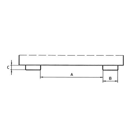 Silobak, met schaarsluiting, vorkkokers + wielen, gelakt, volume 0,375 m³