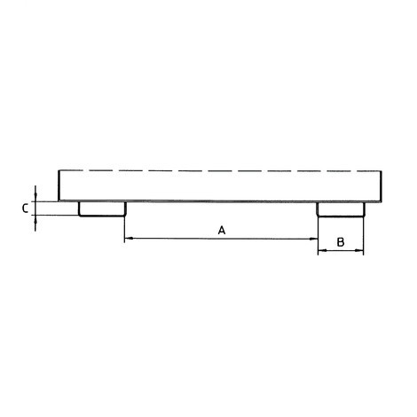 Silobak, met schuifsluiting + vorkkokers, gelakt, volume 0,6 m³