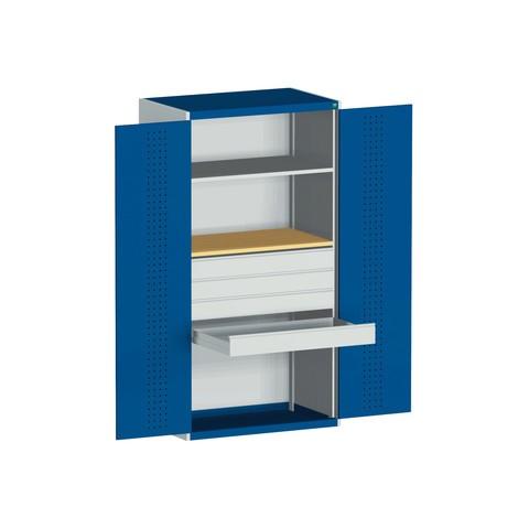 Sistema ante battente bott cubio con 1 doppio fondo, 4 cassetti, 1 piastra intarsiata, AxLxP 2.000 x 1.050 x 650 mm