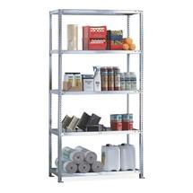 Sistema de aparafusamento para estanteria para picking META, módulo básico, carga de 230 kg por prateleira, galvanizado