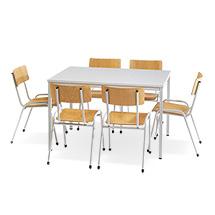 Sitzgruppe BASIC Komplettangebot: 1 rechteckiger Tisch + 6 Stühle