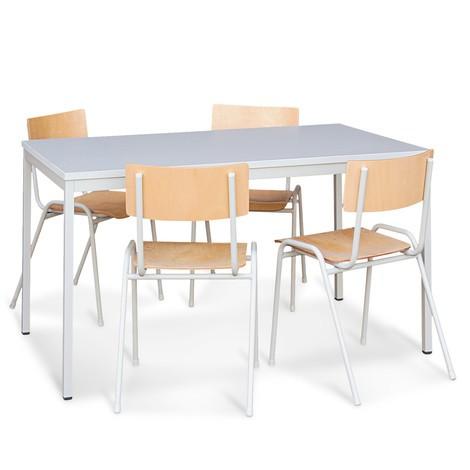 Sitzgruppe mit Stahlrohrtisch